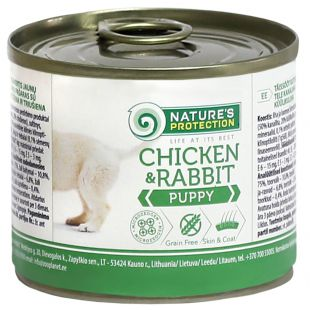 NATURE'S PROTECTION Puppy Chicken&Rabbit Konservuotas pašaras šunims 200 g