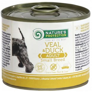NATURE'S PROTECTION Dog Adult Small Breed Veal and Duck Konservuotas pašaras šunims 200 g