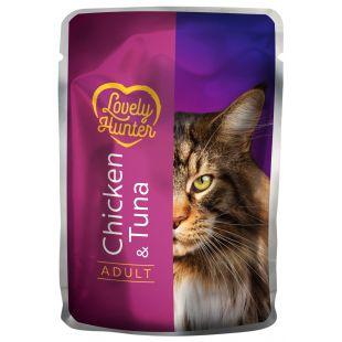 LOVELY HUNTER Adult Konservuotas pašaras  katėms su vištiena ir tunu 85 g