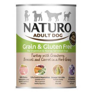 NATURO Grain Free Konservuotas pašaras šunims su kalakutiena, spanguolėmis, brokoliais ir morkomis 390 g