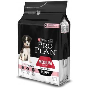 PRO PLAN OPTIDERMA Sensitive Skin Medium Puppy, sausas pašaras jauniems, vidutinio dydžio šunims su lašiša 3 kg