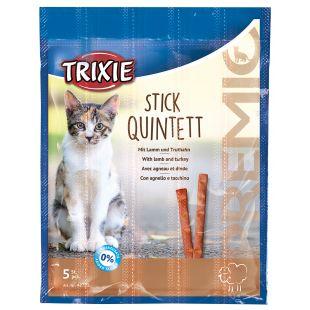 TRIXIE PREMIO Quintett Skanėstai katėms su ėriena ir kalakutiena, lazdelės formos 5x5 g
