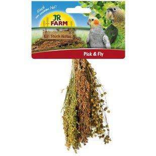 JR FARM Pick&Fly Šluotelė paukščiams su soromis, sorgomis ir linais, 130 g