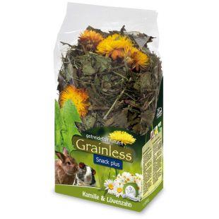 JR FARM Grainless plus Žolelės graužikams su ramunėlėmis ir pienėmis, 100 g