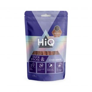 HIQ skanėstas šunims antienos pagaliukai su ispaninio šalavijo sėklomis, 75 g