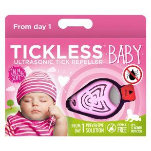 TICKLESS Baby Ultragarsinis pakabukas nuo erkių ir blusų kūdikiams rožinis