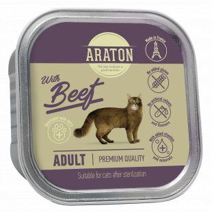 ARATON adult cat with beef, konservuotas suaugusių kačių pašaras 85 g
