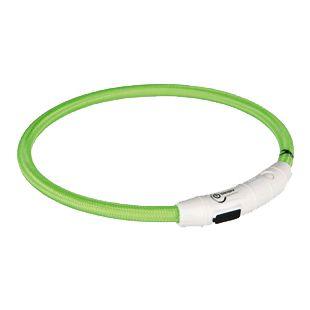 TRIXIE Šiečiantis antkaklis, pakraunamas  per USB žalias, 45 cm, M-L