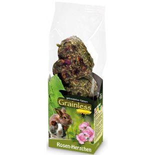 JR FARM Grainless gardėsis graužikams su rožių žiedlapiais, širdelių formos 105 g