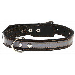 HIPPIE PET odinis antkaklis su atspindinčia juosta juodas, 3.5x48-63 cm