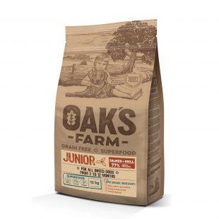 OAK'S FARM Grain Free Salmon with Krill Junior All Breed Dogs  sausas pašaras jauniems visų veislių šunims su lašiša 12 kg