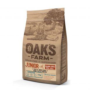 OAK'S FARM Grain Free Salmon with Krill Junior All Breed Dogs  sausas pašaras jauniems visų veislių šunims su lašiša 2 kg