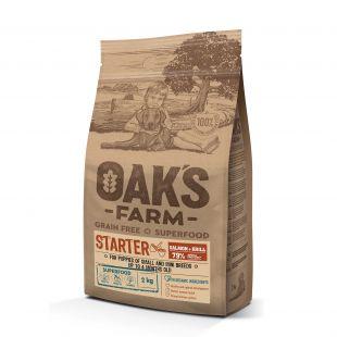 OAK'S FARM Grain Free Salmon with Krill Starter Small and Mini Breed Puppies  sausas pašaras jauniems mažų veislių šuniukams su lašiša 2 kg