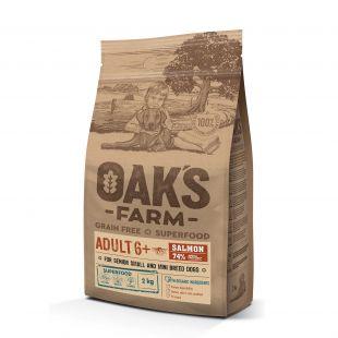 OAK'S FARM Grain Free Salmon Adult 6+ Small and Mini Breed Dogs  sausas pašaras suaugusiems mažų veislių šunims su lašiša 2 kg