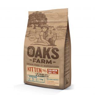 OAK'S FARM Grain Free Salmon Kitten  sausas pašaras kačiukams su lašiša 2 kg