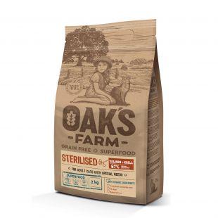 OAK'S FARM Grain Free Salmon with Krill Sterilised Adult Cat  sausas pašaras suaugusioms sterilizuotoms katėms su lašiša 2 kg