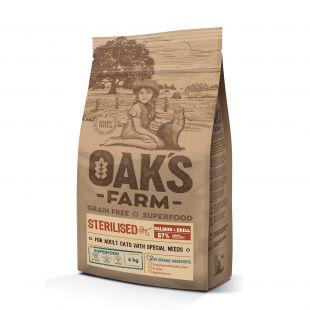 OAK'S FARM Grain Free Salmon with Krill Sterilised Adult Cat  sausas pašaras suaugusioms sterilizuotoms katėms su lašiša 6 kg