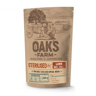 OAK'S FARM Grain Free Lamb Sterilised Adult Cat  sausas pašaras suaugusioms sterilizuotoms katėms su ėriena 400 g