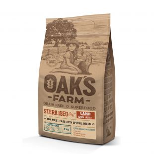 OAK'S FARM Grain Free Lamb Sterilised Adult Cat  sausas pašaras suaugusioms sterilizuotoms katėms su ėriena 6 kg