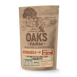 OAK'S FARM Grain Free Salmon Sterilised 8+ Cat  sausas pašaras suaugusioms sterilizuotoms katėms su lašiša 400 g