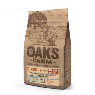 OAK'S FARM Grain Free Salmon Sterilised 8+ Cat  sausas pašaras suaugusioms sterilizuotoms katėms su lašiša 2 kg