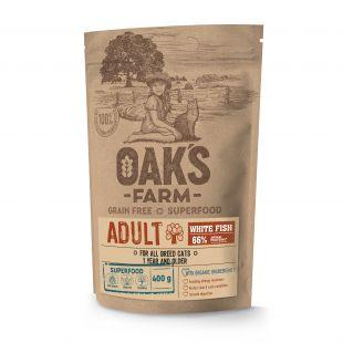 OAK'S FARM Grain Free White Fish Adult Cat  sausas pašaras suaugusioms katėms su žuvimi 400 g
