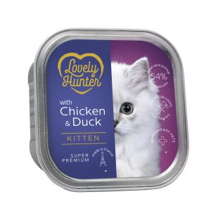 LOVELY HUNTER konservuotas pašaras kačiukams su vištiena ir antiena , 85 g