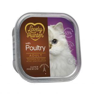 LOVELY HUNTER konservuotas pašaras suaugusioms sterilizuotoms katėms su paukštiena, 85 g