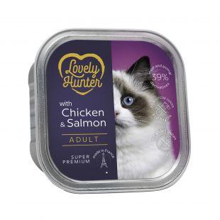 LOVELY HUNTER konservuotas pašaras suaugusioms katėms su vištiena ir lašiša , 85 g