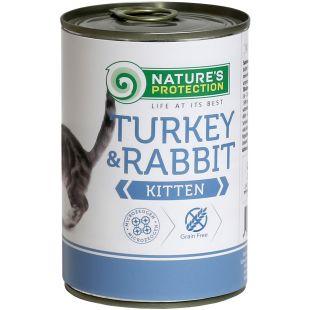 NATURE'S PROTECTION Kitten Turkey&Rabbit Konservuotas pašaras 400 g x 4