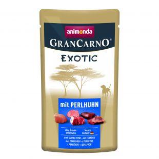 ANIMONDA GranCarno exotic, konservuotas suaugusių šunų pašaras su perlinių viščiukų mėsa, 125 g