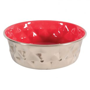 ZOLUX Dubenėlis šuniui Diamonds metalinis,1,8l, raudonas