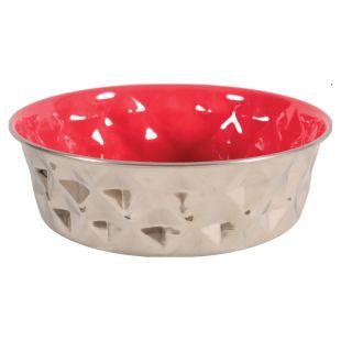 ZOLUX Dubenėlis šuniui Diamonds metalinis, 2.6l, raudonas