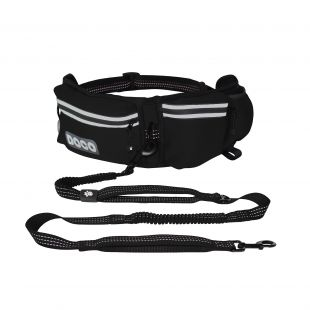DOCO Bėgimo diržas šuniui juodas