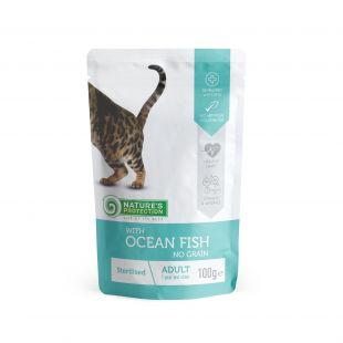 NATURE'S PROTECTION Sterilized  kons. kačių pašaras  su vandenyno žuvimis, maišelyje 100 g