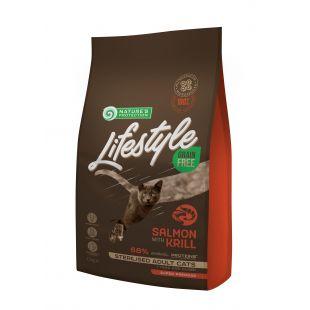 NATURE'S PROTECTION LIFESTYLE Sterilised Adult Grain Free Salmon with krill Sausas pašaras katėms 1.5 kg
