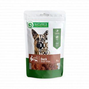 NATURE'S PROTECTION Skanėstai šunims antienos krūtinėlės juostelės 75 g