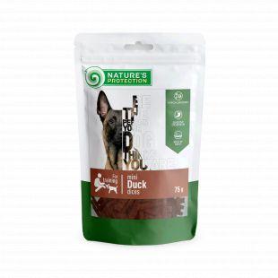 NATURE'S PROTECTION skanėstas šunims maži antienos gabaliukai 75 g
