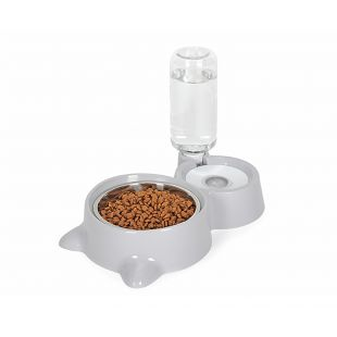 ELS PET kačių dubenėlis ir gertuvė Katės forma 500 ml, pilka