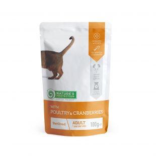 NATURE'S PROTECTION Sterilized Konservuotas pašaras katėms su paukštiena ir spanguolėmis 100 g x 4