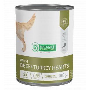 NATURE'S PROTECTION Beef and Turkey Hearts Konservuotas pašaras šunims 800 g x 4