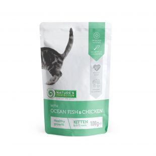 NATURE'S PROTECTION Kitten kons. jaunų kačių pašaras su vandenyno žuvimis ir vištiena, maišelyje 100 g x 4