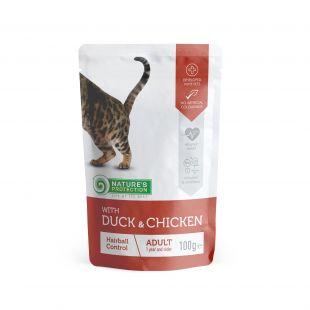 NATURE'S PROTECTION Hairball  kons. kačių pašaras  su antiena ir vištiena, maišelyje 100 g x 4