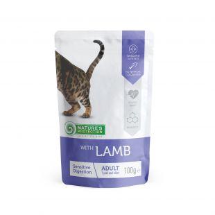 NATURE'S PROTECTION Sensitive digestion kons. kačių pašaras  su ėriena, maišelyje 100 g x 4