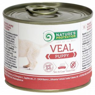 NATURE'S PROTECTION Puppy Veal Konservuotas pašaras šunims 200 g x 4