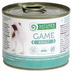 NATURE'S PROTECTION Dog Adult Game su žvėriena Konservuotas pašaras šunims 200 g x 4