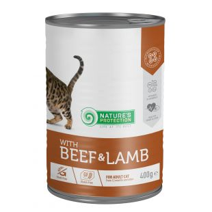 NATURE'S PROTECTION Cat adult with beef & lamb Konservuotas pašaras 400 g x 4