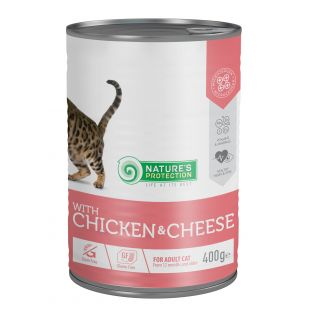 NATURE'S PROTECTION Cat adult with chicken & cheese Konservuotas pašaras 400 g x 4