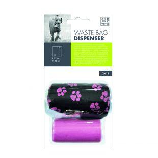 M-PETS Šunų išmatų maišelių dėklas su maišeliais rožinis, 30 vnt.
