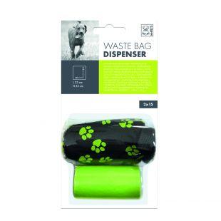 M-PETS Šunų išmatų maišelių dėklas su maišeliais žalias, 30 vnt.